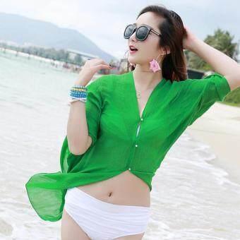 ฤดูร้อนผู้หญิงแฟชั่นสี Candy หลากหลายสี PURE Chiffon Beachwear เส้นด้าย Pearl ปุ่มเสื้อผ้าเสื้อผ้าดวงอาทิตย์ (สีเขียว)