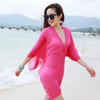 ฤดูร้อนผู้หญิงแฟชั่นสี Candy หลากหลายสี PURE Chiffon Beachwear เส้นด้าย Pearl ปุ่มเสื้อผ้าเสื้อผ้าดวงอาทิตย์ (Rose)