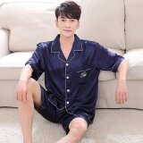 Summer Women Men Silk Loungewear Set Short Sleeve Shirt Shorts 2Pcs Couple Sleepwear Nightgown Intl เป็นต้นฉบับ