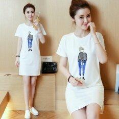 ซื้อ Summer Women Print Casual Short Sleeve White Mini Dress Intl ออนไลน์ ถูก