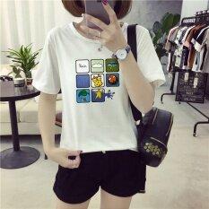 Summer Women Print White T Shirt Top Tee Blouse Intl ใน จีน