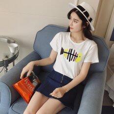 ราคา ฤดูร้อนผู้หญิงแขนสั้นปลาพิมพ์เสื้อยืดสีขาว สนามบินนานาชาติ