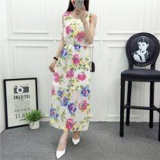 ขาย ซื้อ Summer Women Sleeveless Floral Chiffon Multicolor Maxi Dress Intl
