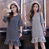 Summer Women Stripe Casual Off Shoulder Black Dress Intl จีน