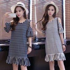 ขาย Summer Women Stripe Casual Off Shoulder Black Dress Intl