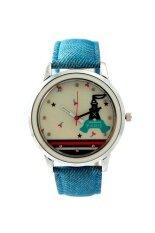 ส่วนลด สินค้า Sunday นาฬิกาข้อมือสุภาพสตรี สายยีนVintage หน้าปัดกลม สีฟ้า