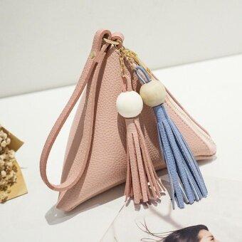 Sunshop Women Mini Hit Color Mobile Phone Bag Tassel Bead Triangle Hand Bags (Pink) - intl