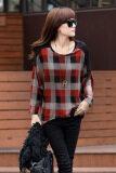 ราคา Sunweb Autumn Women G*Rl Loose Batwing Sleeve T Shirt Plaid Pattern Shirts Red