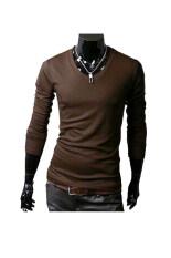 ราคา Sunwonder Long Sleeve Men Slim T Shirts Tee Tops Coffee ออนไลน์
