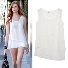 ซื้อ Sunwonder ใหม่ผู้หญิงแฟชั่นชีฟองคอกลมลำลองเสื้อเกาะอกผิดปกติซึ่งมีหลายชั้น ขาว ในประเทศ Unbranded Generic ออนไลน์