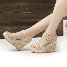 ซื้อ Sunyoo ส้นสูงฤดูร้อนหญิงสาวสบายๆ Pu ส้นสูงเปิดนิ้วเท้าลูกไม้รองเท้าแตะ Hollowed Wedge รองเท้า Us 5 5 ถูก