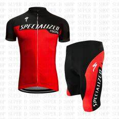Super D Shop ชุดจักรยานลายทีมspecialized กางเกงเป้าเจล 20d สำหรับนักปั่นทั้งชายและหญิง.