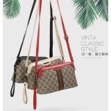 Super Fashion Korea กระเป๋าสะพายข้าง กระเป๋าเป้ผ้าไนลอน S898 (Black Red White กรุงเทพมหานคร
