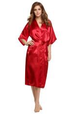 ซื้อ Supercart S*xy Woman Silk Strappy Sleepwear Long Bath Robes Night Gown Pajamas Red Intl ออนไลน์