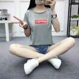 ซื้อ Suprem Fashion Grils Streetwear Cotton T Shirt Grey Intl Supreme