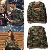 ซื้อ Supreme Embroidery Logo Camouflage Hoodie Loose Sweatshirt Intl ออนไลน์