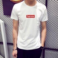 ราคา Supreme Fashion Leisure T Shirt Men S Cotton Printing Short Sleeve White Intl ใหม่