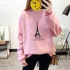 เสื้อกันหนาว Sweater สเวตเตอร์ เสื้อแขนยาวแฟชั่นพร้อมส่ง เสื้อแขนยาวสีชมพู แต่งสกรีนรูปหอคอย พร้อมส่ง เป็นต้นฉบับ