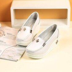 ราคา Sxing ฤดูร้อนของผู้หญิงรองเท้าหนังแท้รองเท้าส้นสูงรองเท้าสบายๆสีขาว ใหม่ ถูก