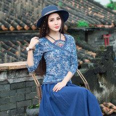 ราคา ราคาถูกที่สุด Sy เสื้อยืดผ้าฝ้ายเสื้อสีฟ้าและสีขาวพอร์ซเลนพิมพ์สตรี สีรูปภาพ