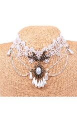 Tanittgems Vintage Bridal White Pearls French Lace Bridal Necklace ถูก