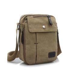 ขาย Tas Selempang Pria Kanvas Import Vintage Messenger Bag Khaki จีน ถูก