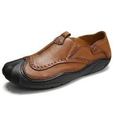 ราคา Tauntte 2017 New Arrival Four Season Men Cow Leather Shoes Breathable Anti Odor Genuine Leather Shoes Fashion Slip On Casual Shoes Orange เป็นต้นฉบับ