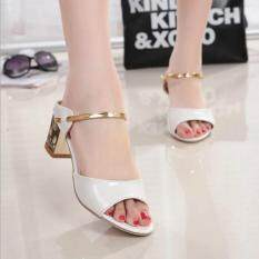Tb The New Fish Head High Heeled Sandals White Intl ถูก