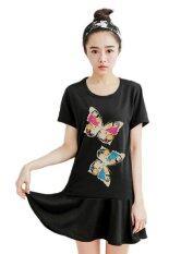 ขาย Teeneefashions เสื้อยืดแฟชั่นตัวยาว แซกสั้น ผ้านุ่ม ลาย Twin Butterflies สีดำ ออนไลน์