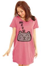 ซื้อ Teeneefashions เสื้อยืดเกาหลีตัวยาว ลายแมวเหมียว สีโอรส ถูก