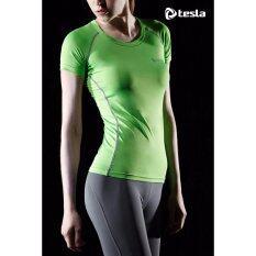 Tesla เสื้อเบสเลเยอร์รัดกล้ามเนื้อ(สุภาพสตรี) คอกลมแขนสั้น เหลืองมะนาว