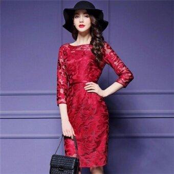 ชุดสตรีชุดชั้นเย็บปักถักร้อยสูงของผู้หญิงชุดใหม่ (สีแดง)