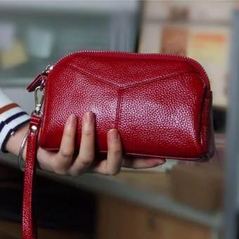 TF ผู้หญิงกระเป๋าสตางค์ Han ฉบับกระเป๋าหนังแฟชั่น (สีแดง)