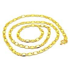 ขาย ซื้อ ออนไลน์ Tfine สร้อยคอชุบทองแท้สีทอง24เคลายแบนทับแปดขนาด 50ส ต ชุบเงาทั้งเส้น
