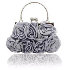 ทบทวน The Flower Design Satin And Silk Women Wedding Brial Clutch Bag Evening Handbags More Colors Silver Intl