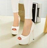 ราคา The New Super High Heels Fish Mouth Leather Female Single Shoes Sandals White Intl ออนไลน์ จีน