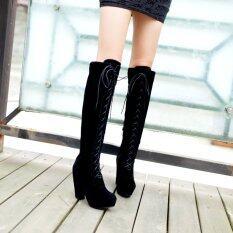 ราคา Thick High Heels Over Knee High Boots Autumn Winter Canister Knight Waterproof Single Boots Shoes Intl เป็นต้นฉบับ Unbranded Generic