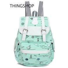 โปรโมชั่น Thingshop กระเป๋าสะพายหลังแฟชั่น กระเป๋าเป้สะพายหลัง ผู้หญิง ลายชาวเรือ Thailand