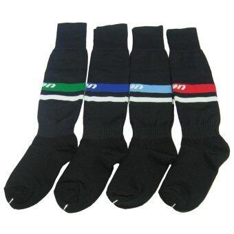 ถุงเท้ากีฬา ถุงเท้าฟุตบอลเด็ก PAN PC-1564 สีดำน้ำเงิน