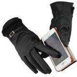 ซื้อ ถุงมือหนัง Pu สำหรับใส่กันหนาว และ สามารถสวมถุงมือทัชสกรีนหน้าจอได้ ลายตารางสีดำ หญิง New Jacquard Unisex Touch Screen Soft Gloves Mitten Warm Winter Knit Black ออนไลน์ ถูก