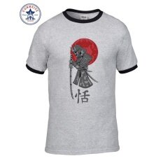 Thw Mens Fashion Cotton Short Sleeve T Shirts 2017 Funny Hip Hop Printed Funny Anime Japanese Samurai Letter Warrior Cotton Funny T Shirt For Men Intl ถูก