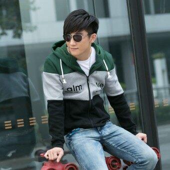 แบรนด์ Tide เกาหลีบวกกำมะหยี่เบสบอลคลุมด้วยผ้าเสื้อผู้ชายเสื้อกันหนาว (สีเขียวเข้ม)