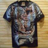 ขาย เสื้อยืดลายญี่ปุ่น เรืองแสงในที่มืดTiger Dragon Glow In The Dark T Shirt Full Hd Printed Unbranded Generic ถูก