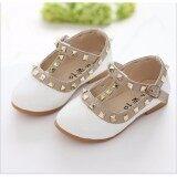 ราคา Toddler Princess Girls Kids Sandals Rivet Buckle T Strap Flat Shoes White 25 Intl ออนไลน์ จีน