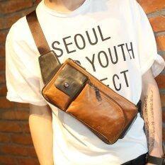 ขาย ซื้อ ออนไลน์ Tokyo Boy กระเป๋าหนัง Pu แนวย้อนยุค คาดอก หรือคาดเอว รุ่น Ne72 สีกาแฟ