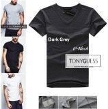 โปรโมชั่น Tonyguess T Shirt 1 ตัว Cotton Spandex เสื้อยืดคลาสสิค สีดิบโคตรเท่ห์ สีเทาเข้ม คอวี Tonyguess ใหม่ล่าสุด