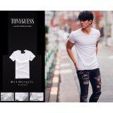 ซื้อ Tonyguess T Shirt 1 ตัว Cotton Spandex เสื้อยืดแฟชั่นชาย สีดิบโคตรเท่ห์ สีขาว คอวี