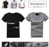 ซื้อ Tonyguess T Shirt เซ็ต 2 ตัว Cotton Spandex เสื้อยืดแฟชั่นชาย สีดิบโคตรเท่ห์ สีดำ เทาอ่อน คอวี ออนไลน์