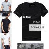 ราคา Tonyguess T Shirt Cotton Spandex เสื้อยืดคลาสสิค สีดิบโคตรเท่ห์ สีดำคอกลม 1ตัว เป็นต้นฉบับ
