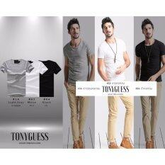ราคา Tonyguess T Shirt เซ็ต 3 ตัว สุดคุ้ม Cotton Spandex เสื้อยืดแฟชั่นชาย สีดิบโคตรเท่ห์ สีดำ เทาอ่อน ขาว คอกลม